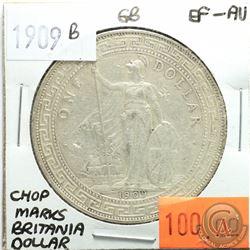 Great Britain 1909B Britannia Dollar; Chop Marks; EF-AU