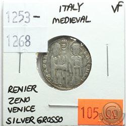 Italy Medieval 1253-1268 Silver Grosso; Reniero Zeno; Venice; VF
