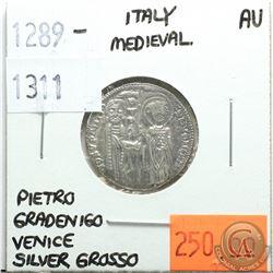 Italy Medieval 1289-1311 Silver Grosso; Pietro Gradenigo; Venice; AU