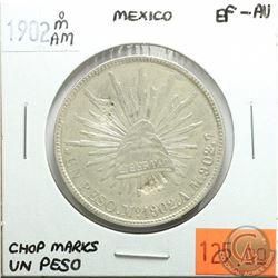 Mexico 1902 oM AM; Un Peso; Chop Marks; EF-AU