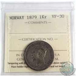 Norway 1879 1 Kroner ICCS Certified VF-30 *KEY DATE*