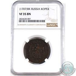 Russia (1707) BK Kopek NGC Certified VF-35 BN