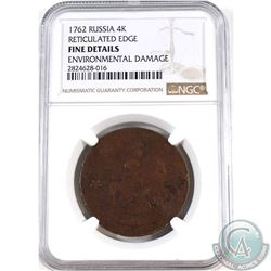 Russia 1762 4 Kopeks Reticulated Edge NGC Certified Fine Details Environmental Damage