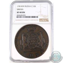 Russia 1781KM Copper 10 Kopeks Siberia NGC Certified XF-40 BN