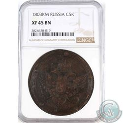 Russia 1803KM Copper 5 Kopeks NGC Certified XF-45 BN