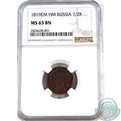 Russia 1819EM HM 1/2 Kopek NGC Certified MS-63 BN
