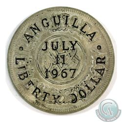 Yemen; July 11, 1967 Anguilla Liberty Dollar Counter stamped on a Yemen Rial Coin.