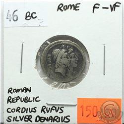 Rome 46 BC Silver Denarius; Roman Republic; Cordius Rufus; F-VF; Reverse - 'Venus Holding Scales & S