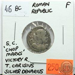 Rome Republic 46 BC Silver Denarius; S.C. Victory Facing Right; T. Carisius; F; Reverse - 'Victory D