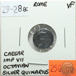 Rome 29-28 BC Silver Quinarius; Caesar; Imp VII; Octavian; VF - 'Asia Recepta, Victory Standing On C