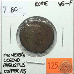 Rome 7 BC Copper As; Moneyer's Legend; Augustus; VG-F; Reverse - 'PLVRIVS AGRIPPA III VIR AAAFF. SC.