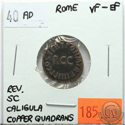 Rome 40 AD Copper Quadrans; Caligula; Reverse - 'SC'; VF-EF