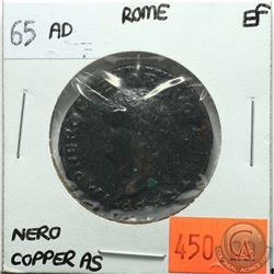 Rome 65 AD Copper As; Nero; Victory, SPQR; EF