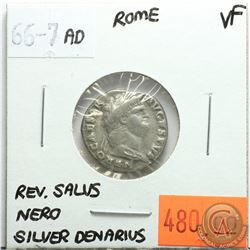 Rome 66-67 AD Silver Denarius; Nero; VF; Reverse - Salus