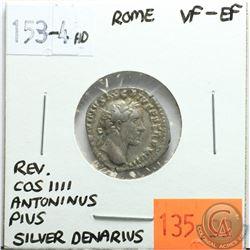Rome 153-154 AD Silver Denarius; Antoninus Pius; VF-EF; Reverse - 'COS IIII'