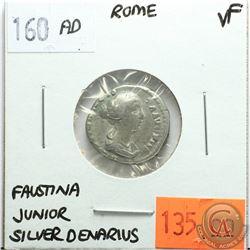 Rome 160 AD Silver Denarius; Faustina Junior; VF