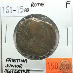 Rome 161-175 AD Sestertius; Faustina Junior; F; Reverse - 'Cybele Enthroned Between 2 Lions'