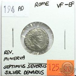 Rome 194 AD Silver Denarius; Septimius Severus; VF-EF; Reverse - 'Minerva'