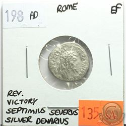 Rome 198 AD Silver Denarius; Septimius Severus; EF; Reverse - 'Victory'