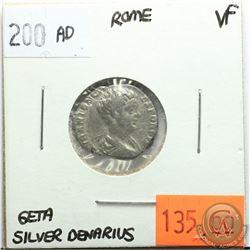 Rome 200 AD Silver Denarius; Geta; VF