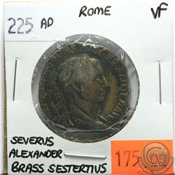 Rome 225 AD Brass Sestertius; Severus Alexander; VF; Reverse - 'VIRTVS AVGVSTI SC, Resting on Spear