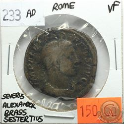 Rome 233 AD Brass Sestertius; Severus Alexander; VF; Reverse - 'Sol with Whip, SC.'