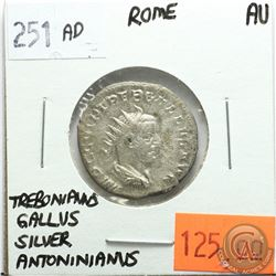 Rome 251 AD Silver Antoninianus; Trebonianus Gallus; AU; Reverse - 'Mars Holding Olive Branch & Spea