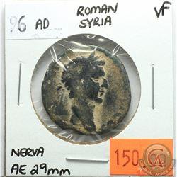Rome Syria 96 AD; AE 29mm; Nerva; VF