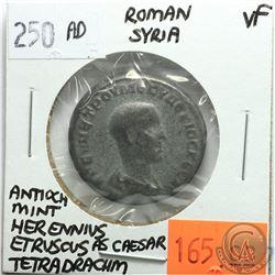 Rome Syria 250 AD Tetradrachm; Herennius Etruscus as Caesar; Antioch Mint; VF