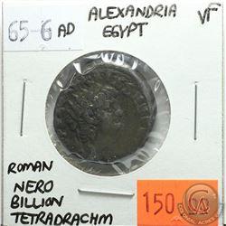 Alexandria Egypt 65-66 AD Billon Tetradrachm; Nero; Roman; VF; Reverse - 'Alexandria Wearing Elephan