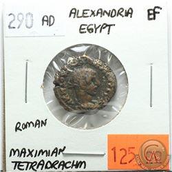 Alexandria Egypt 290 AD Tetradrachm; Maximian; Roman; EF