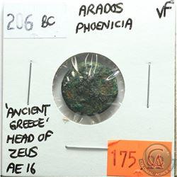 Arados Phoenicia 206 BC; AE 16; Head of Zeus; 'Ancient Greece'; VF; Reverse - 'Ram of Galley Ship'