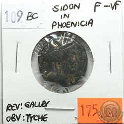 Sidon in Phoenicia 109 BC; Tyche; Reverse - 'Galley Ship'; F-VF