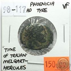 Phoenicia Tyre 98-117 AD; Melqart-Hercules; 'Time of Trajan'; VF; Reverse - 'Club Upright, with Civi