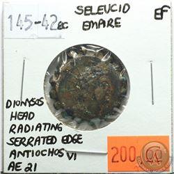 Seleucid Empire 145-142 BC; AE 21; Dionysos; Antiochos VI; Head Radiating; Serrated Edge; EF; Revers