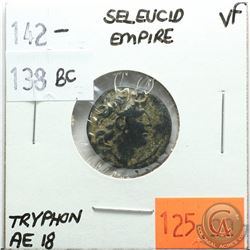 Seleucid Empire 142-138 BC; AE 18; Tryphon; VF; Reverse - 'Spiked Macedonian Helmet Left, Ornamented
