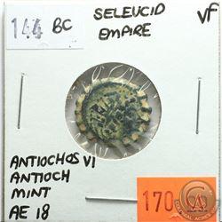 Seleucid Empire 144 BC; AE 18; Antiochos VI; Antioch Mint; VF; Reverse - 'Apollo Standing'
