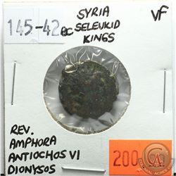 Syria Seleucid Kings 145-142 BC; Dionysos; Antiochos VI; VF; Reverse - 'Amphora'