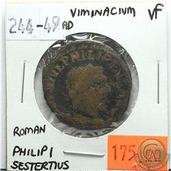 Viminacium 244-249 AD; Sestertius; Philip I; Roman; VF; Reverse - 'Moesia Standing Between Bull & Li