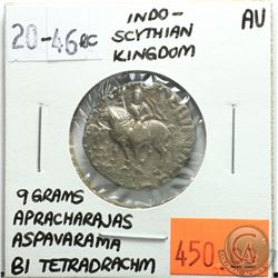 Indo-Scythian Kingdom 46-20 BC Bi Tetradrachm; Aspavarama; Apracharajas; 9 Grams; Reverse - 'Azes on