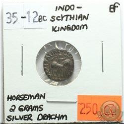 Indo-Scythian Kingdom 35-12 BC Silver Drachm; Horseman; 2 Grams; EF; Reverse - 'Zeus Nikephoros'