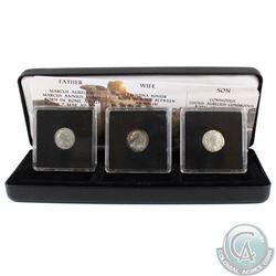 3x Ancient Roman coins Father-Marcus Aurelius, Wife-Fautina Juniour & Son Commodus Lucius Aurelius.