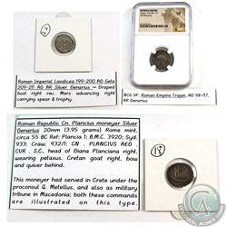 Ancient Coin: Roman Republic Cn. Plancius moneyer Silver Denarius (Rome Mint) circa 55 BC, Ancient C