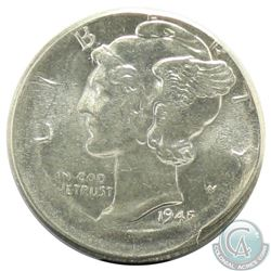 1945 USA Mercury Dime Struck Off Center 10%.