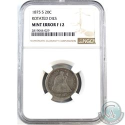 1875-S USA 20-cent Rotated Dies Mint Error NGC Certified F-12