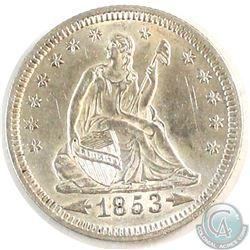 USA 1853 25-cent Arrows & Rays AU-UNC (scratched)