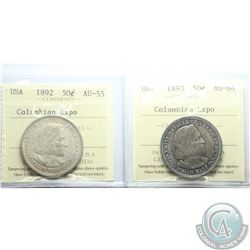 USA 50-cent 1892 Colombian Exposition AU-55 & 1893 Colombian Exposition MS-64 both ICCS Certified. 2