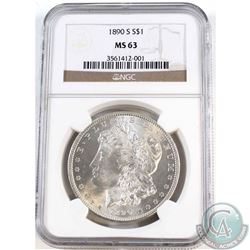 USA 1890-S Silver $1 NGC Certified MS-63. Nice Blast White coin.