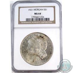 USA 1921 Morgan Silver $1 NGC Certified MS-64.