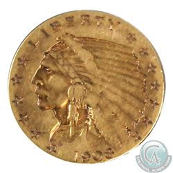 USA 1908 2.50 Dollar Indian Head Gold Coin in Good Condition. Coin contains 0.121oz of Pure Gold.